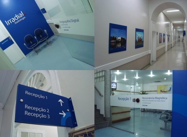 Fotos do sistema de comunicação visual adotada na Irradial Radiologia