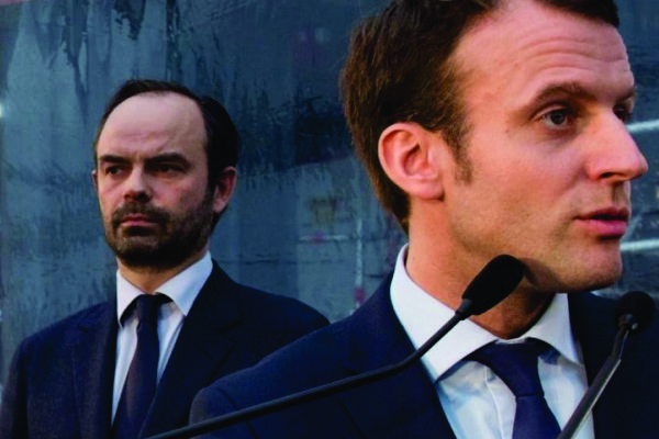 Primeiro ministro Édouard Philippe e o presidente Emanuelle Macron