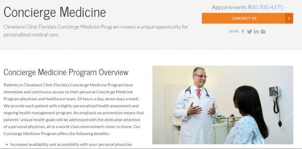 Site da Cleveland Clinic fornece informações sobre o Programa de Concierge