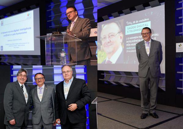 Na foto à esquerda, Cláudio Allgayer (presidente da FEHOSUL), Jaderson da Costa e Henri Chazan (presidente do SINDIHOSPA)
