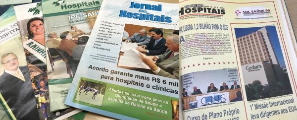 Edições do Jornal dos Hospitais, desenvolvido pela AHRGS