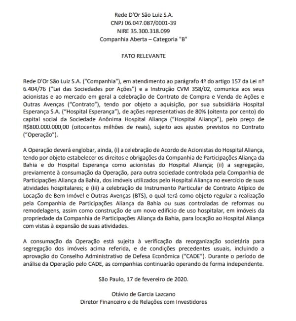 Fato_Relevante_Rede_Dor_Sao_Luiz_Hospital_Alianca