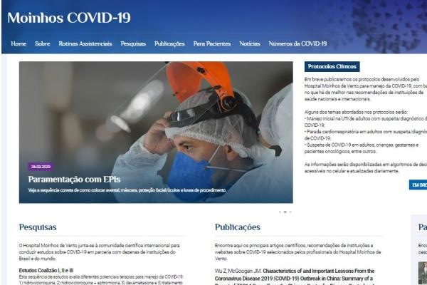 Hospital Moinhos de Vento lança site para ajudar profissionais da saúde a combater casos de COVID-19