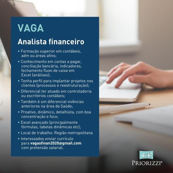 vaga de analista financeiro