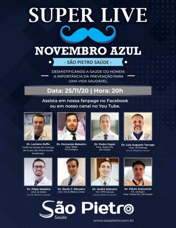 São Pietro Saúde reúne médicos urologistas em live do Novembro Azul nesta quarta_