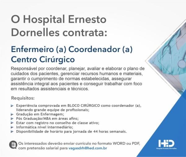 Hospital Ernesto Dornelles enfermeiro vaga de emprego