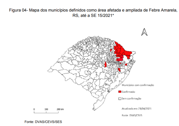 mapa febre amarela rs