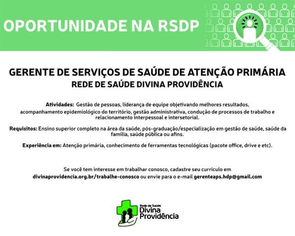 vaga Gerentes de Serviços de Saúde de Atenção Primária